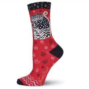Laurel Burch Women's Polka Dot Gatos Crew Socks
